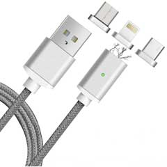 USB auf USB-C Kabel MagSafe iPhone silber